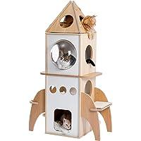 Umi houten krabpaal 138 cm raket kattenspeeltoren meertraps houten kattenhuis groot kattenmeubel activiteitencentrum…