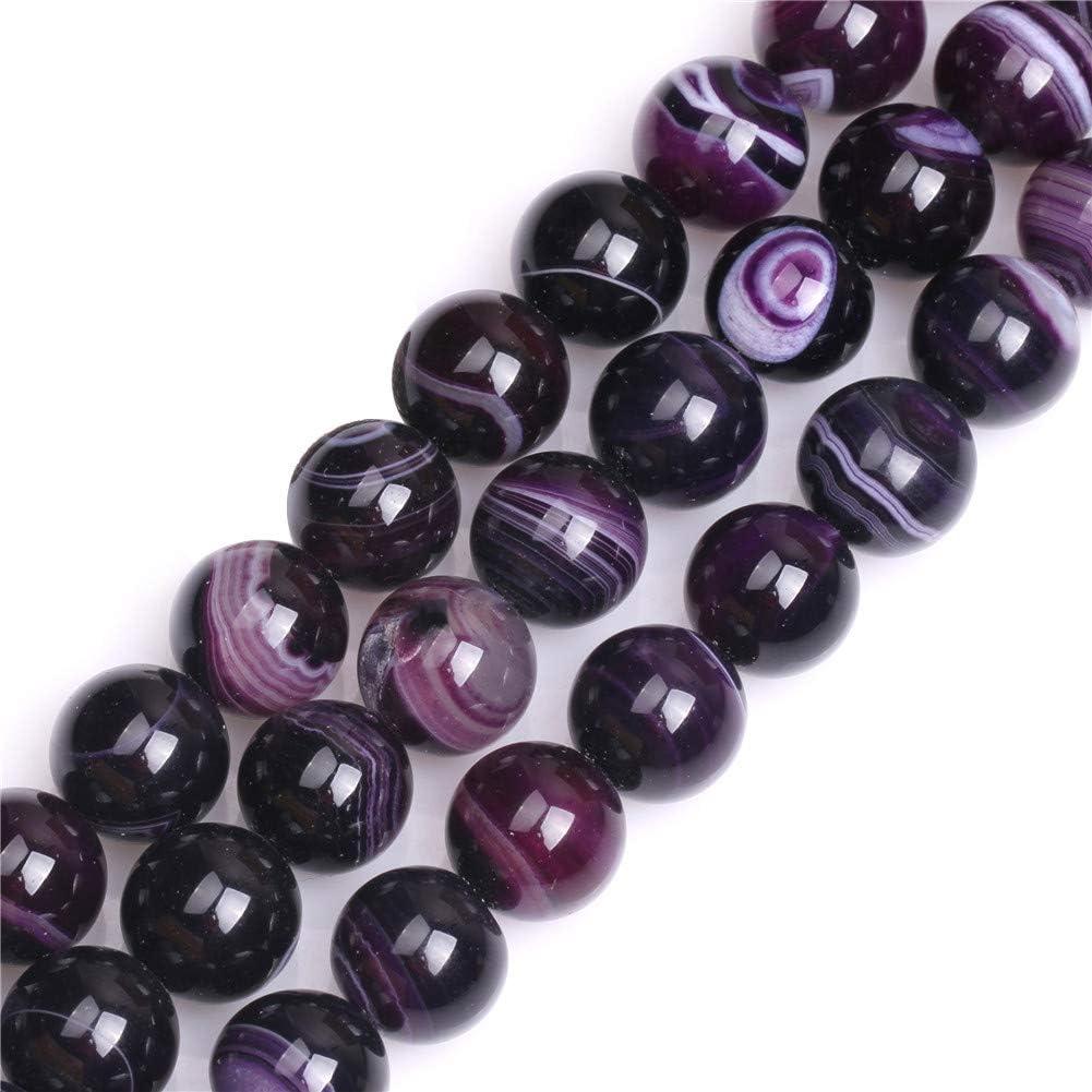 Sweet & happy girl's Store tallado redondo de coloures de piedras preciosas de ágata bandas de perlas de cadena 38.1 cm de la joyería de la fabricación de la perla, 14mm Lila Banded Achat