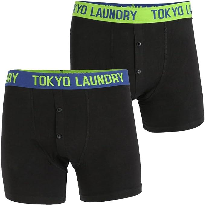 Tokyo Laundry Mens 2 Pack Designer Gift Pack Black Boxer Shorts