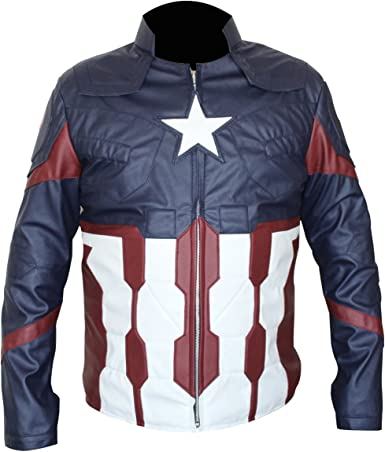 LEATHERAY Mens Fashion Motorbike Captain America Real Leather Jacket Blue and Black