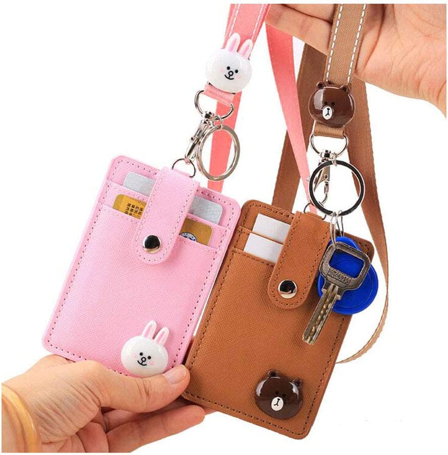 Amazon Com 2 Packs Id Cards Badge Holder With Lanyard Cute Leather Credit Card Holder With 2 Sided 3 Slot And Key Ring For Women Girls Bear Rabbit Office Products