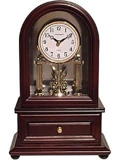 Desk Clocks: Vmarketingsite Wood Desk Clock With Revolving Pendulum.  Decorative Small Table Mantel Clock