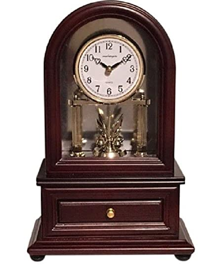 Vmarketingsite Desk Clocks Wood Desk Clock With Revolving Pendulum.  Decorative Small Table Mantel Clock Battery