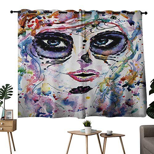 NUOMANAN Blackout Lined Curtains Sugar Skull,Halloween Girl with Sugar Skull Makeup Watercolor Painting Style Creepy Look,Multicolor,Blackout Draperies for Bedroom -