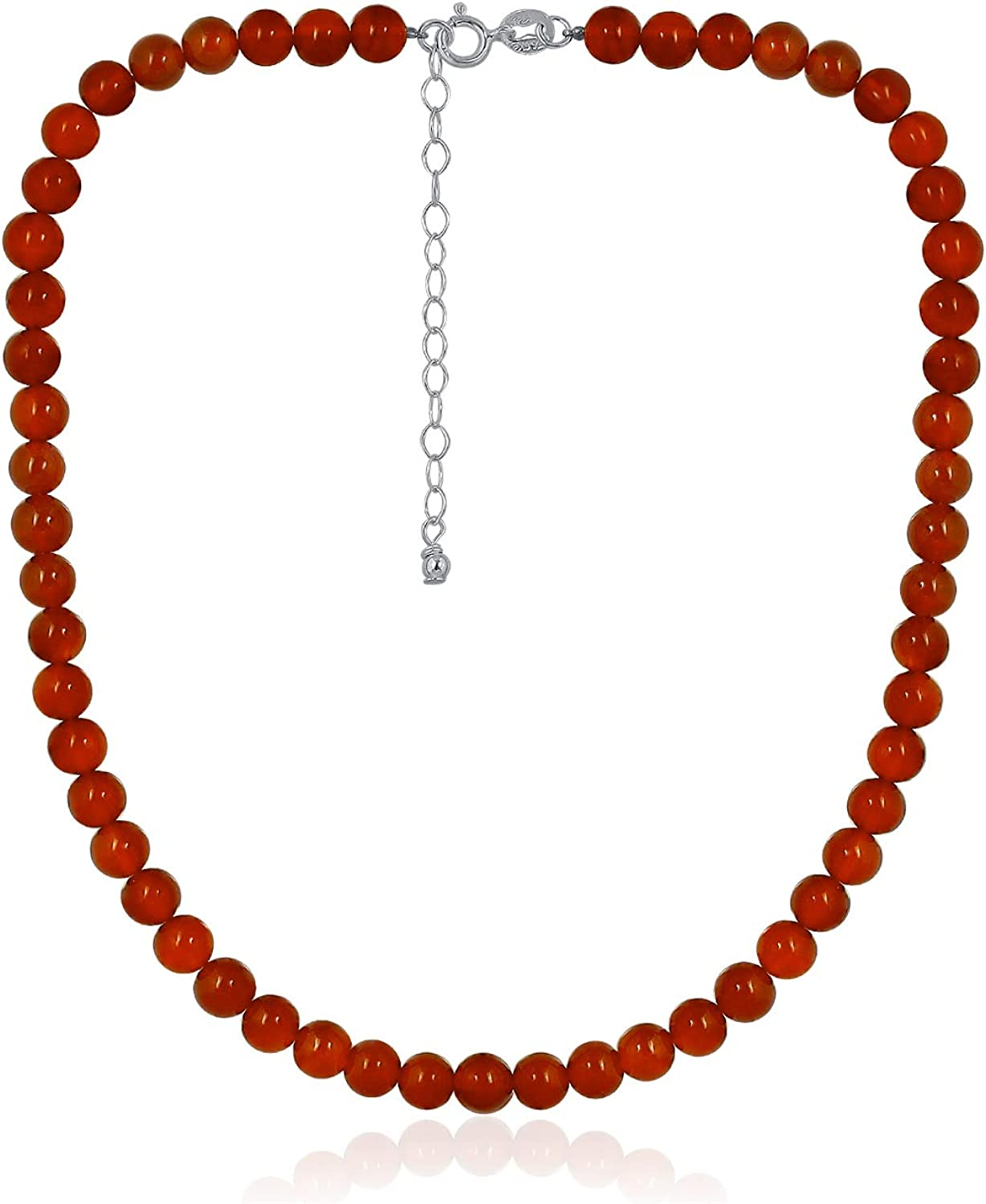 """Sea of Ice Precious Gemstone 6mm Round Beads Necklace 14"""" Plus 2"""" Extender with Sterling Silver Spring Ring Clasp"""