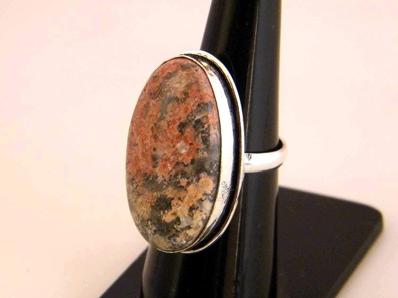 BRS-3678 Thebestjewellery Leopard Skin Jasper Ring Women Jewelry, Silver Plated Ring Handmade Ring Size- 6.25 USA