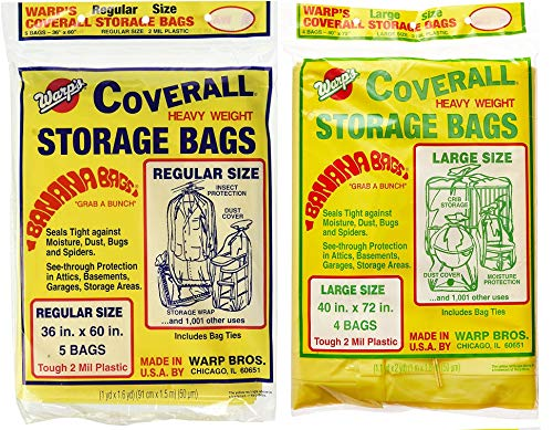 (Warp's Banana Bags, Plastic, one Bag of Each Size: 36 in. x 60 in, 40 in. x 72 in. (Regular/Large))