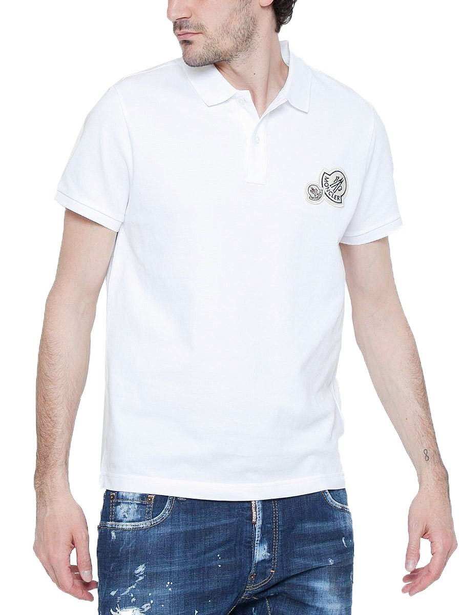 (モンクレール) MONCLER シンプル カラー Wワッペン 半袖 ポロシャツ [MC830420084556] [並行輸入品] B079ZRDLS6 M|ホワイト(001) ホワイト(001) M