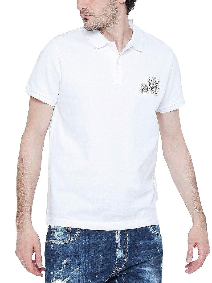 (モンクレール) MONCLER シンプル カラー Wワッペン 半袖 ポロシャツ [MC830420084556] [並行輸入品] B079ZSD72T  ホワイト(001) XX-Large