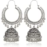 Kaizer Jewelry White Fashion Oxidised Silver Tribal Stylish Party Wear Jhumka Earrings For Women's & Girl's