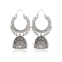 Kaizer Jewelry Fashion Oxidised Silver Tribal Stylish Earrings Fancy Party Wear Earrings For Women & Girls