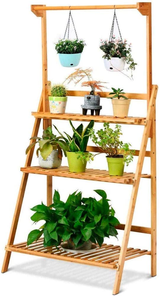 60 x 28 x 82 cm Cocoarm Plant shelf balcony Flower shelf wood 3 levels Flower stand Garden Plant stairs for indoor balcony living room Outdoor garden decoration