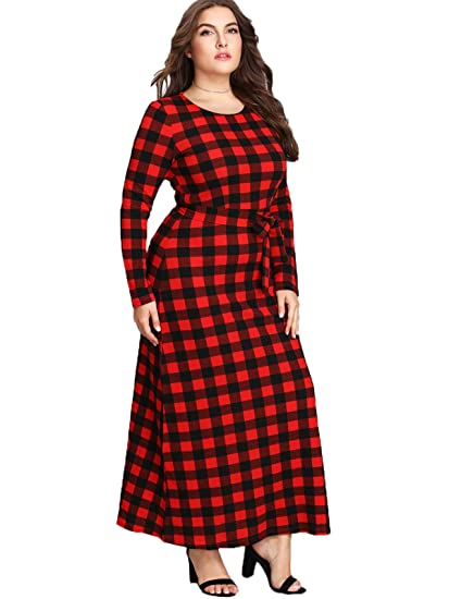 Floerns Women\'s Plus Size Plaid Long Sleeve Belted Tie Waist Maxi Dress