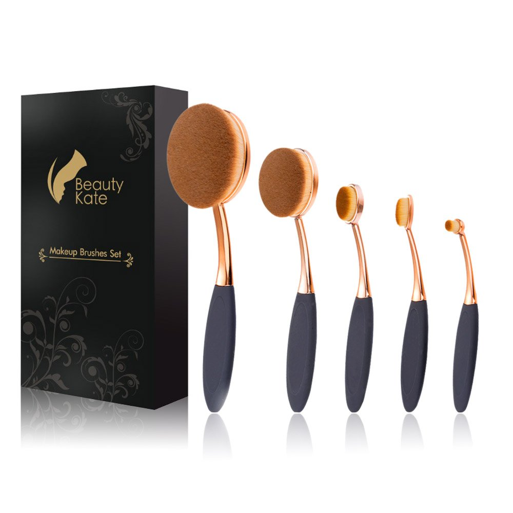 Oval Makeup Brush Set of 5 Pcs Professional Oval Toothbrush Foundation Contour Concealer Eyeliner Blending Cosmetic Brushes Tool Set by Beauty Kate