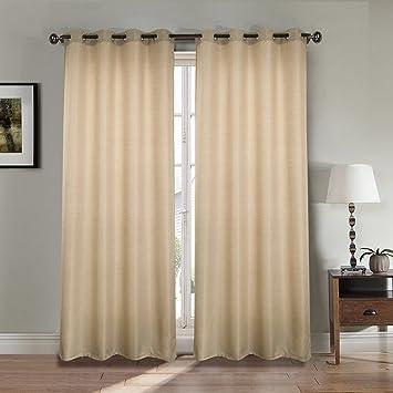 Paire de double rideau aspect lin épais - taupe - Dimensions ...