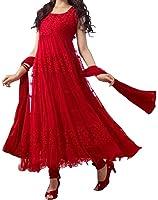 Best Offer Sale on Today Lady Zone Women's Brasso A-Line Salwar Suit Set (Blubraso111_Red_Free Size)