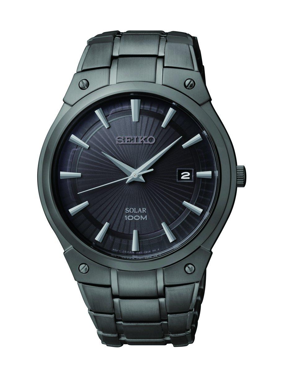Seiko Men's SNE325 Dress Solar Black Stainless Steel Watch by SEIKO
