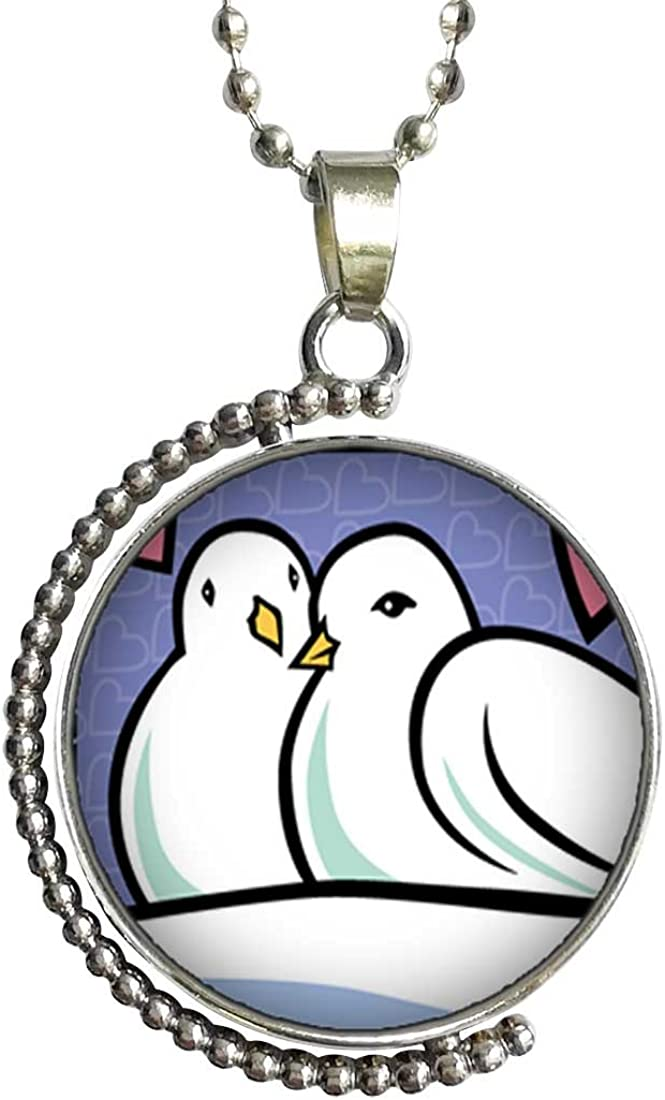 GiftJewelryShop Two Turtle Doves Photo Storybook Glass Cabochon Rotatable Lucky Pendant Necklace