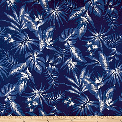 Robert Kaufman Kaufman Sevenberry: Island Pardise Barkcloth Blue Fabric By The Yard - Barkcloth Fabric