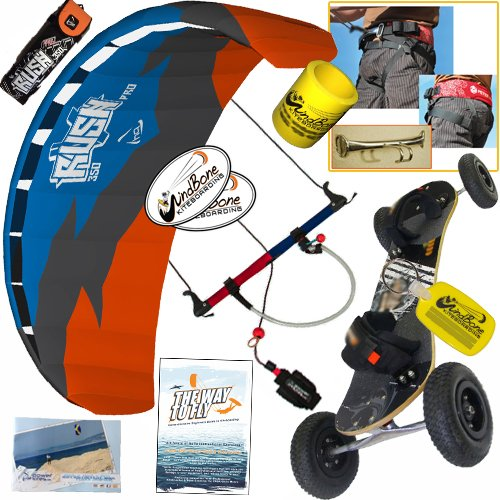 HQ Rush Pro V 350 3.5M Kite Mountainboard Kiteboarding Bundle (8 Items) Includes Landboard + Peter Lynn Harness + Loop + The Way To Fly Beginner Kiteboarding DVD + WB Decals + WB Key Chain + Koozie
