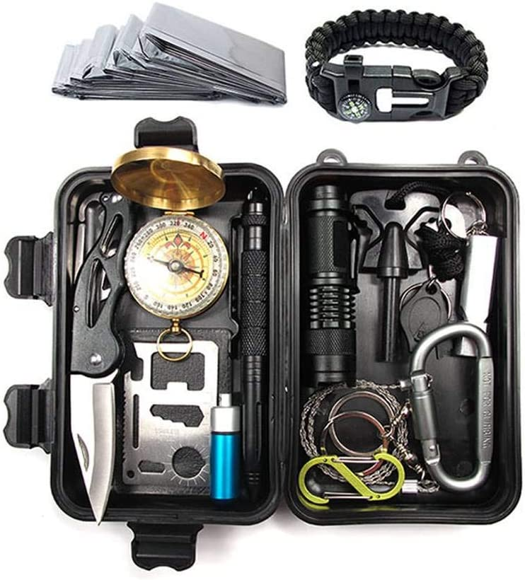 Kit De Supervivencia Kit De Primeros Auxilios De Supervivencia De Emergencia Pulsera Silbato BrúJula Manta Salvavidas para Acampar Senderismo Caza Escalada Viajes Aventuras En El Desierto