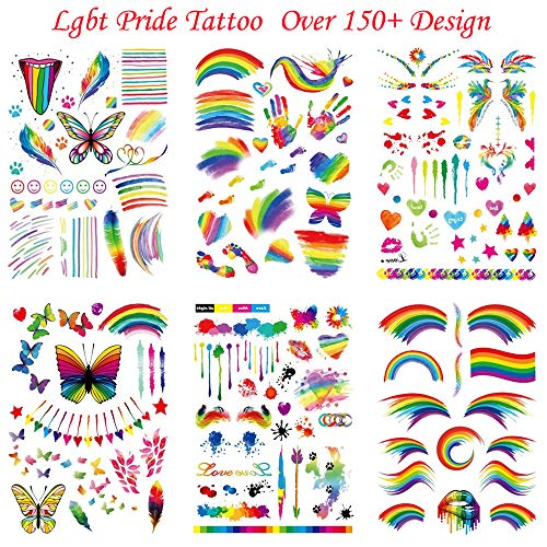 a6054cf2b2fe2 Gay Pride Temporary Tattoos LGBT Rainbow Gay Pride Flag Stickers Tattoo 6  Sheets Over 150+ Design Festival Body Paint Art Tattoo for Gay Pride Party  ...