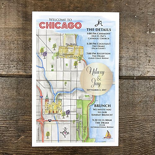 Personalized Wedding Maps, Custom Wedding, Illustrated Map, Hand Painted Guest - Wedding Invitations Hand Painted