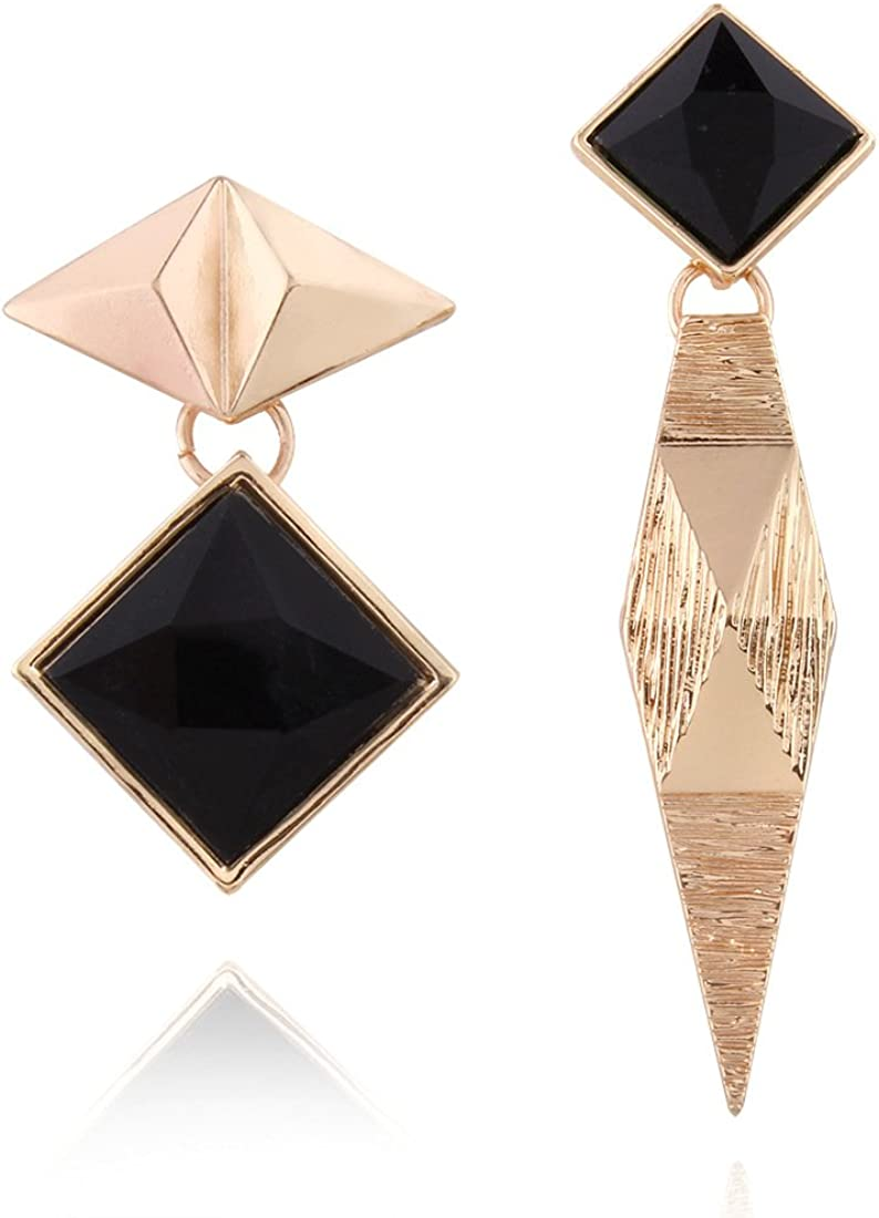 GLJIJID Elegantes Aretes De Personalidad, Aretes Asimétricos Geométricos De Diamantes Geométricos, Diseño Único, Te Hacen Más Oro De Roca.