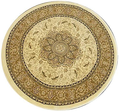Traditional Round Area Rug Design Elegance 206 Ivory (5 Feet 3 Inch x 5 Feet 3 Inch) Round