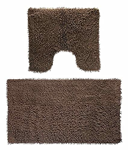 Modern Homes Brown Cotton Tufted Bath Mat and Contour (40 x 60 cm and 50 x 50 cm)