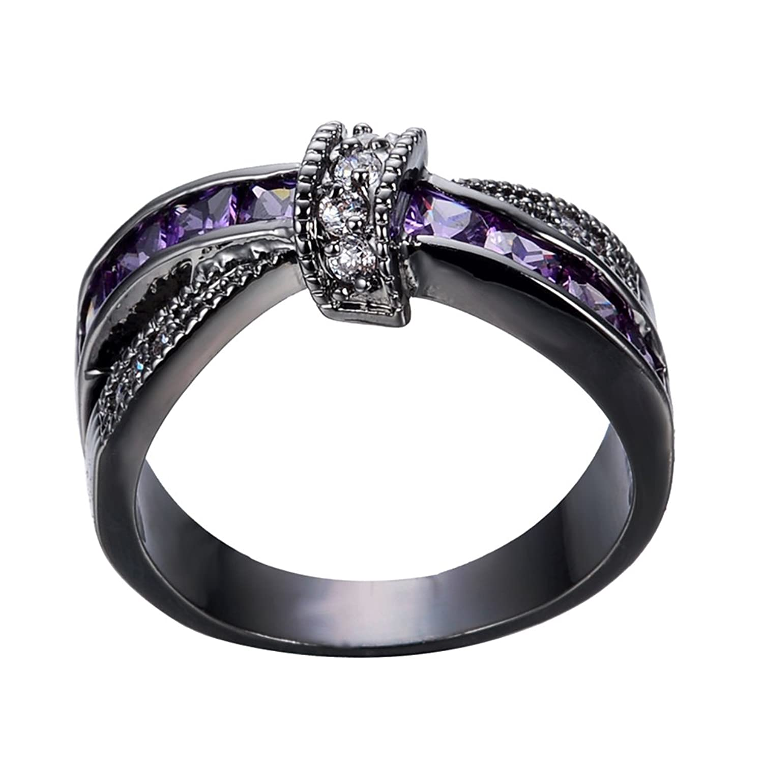 Amazon: Bamos Jewelry Womens Purple Zc Stone Promise Gift Rings Lab For  Engagement Wedding Criss Cross Black Gold Plated Ring For Her Size 510:  Jewelry