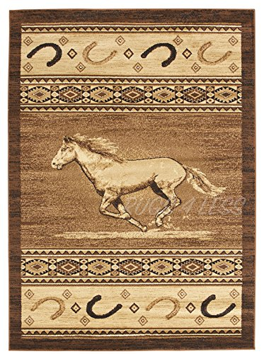 Rugs 4 Less Collection Horse Cowboy Western Cabin Style Lodge Area Rug Design R4L 372 (5'2''X7'2'') (Cowboys Runner Mat)