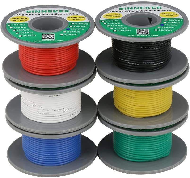 10m//32.8ft Each BINNEKER 26 Gauge Silicone Wire Kit 6 Color Red Black White Blue Green Yellow High Resistant 200 deg C 600V Electronic Wire 26 AWG Stranded Wire 30 Strands Tinned Copper Wire Hook Up