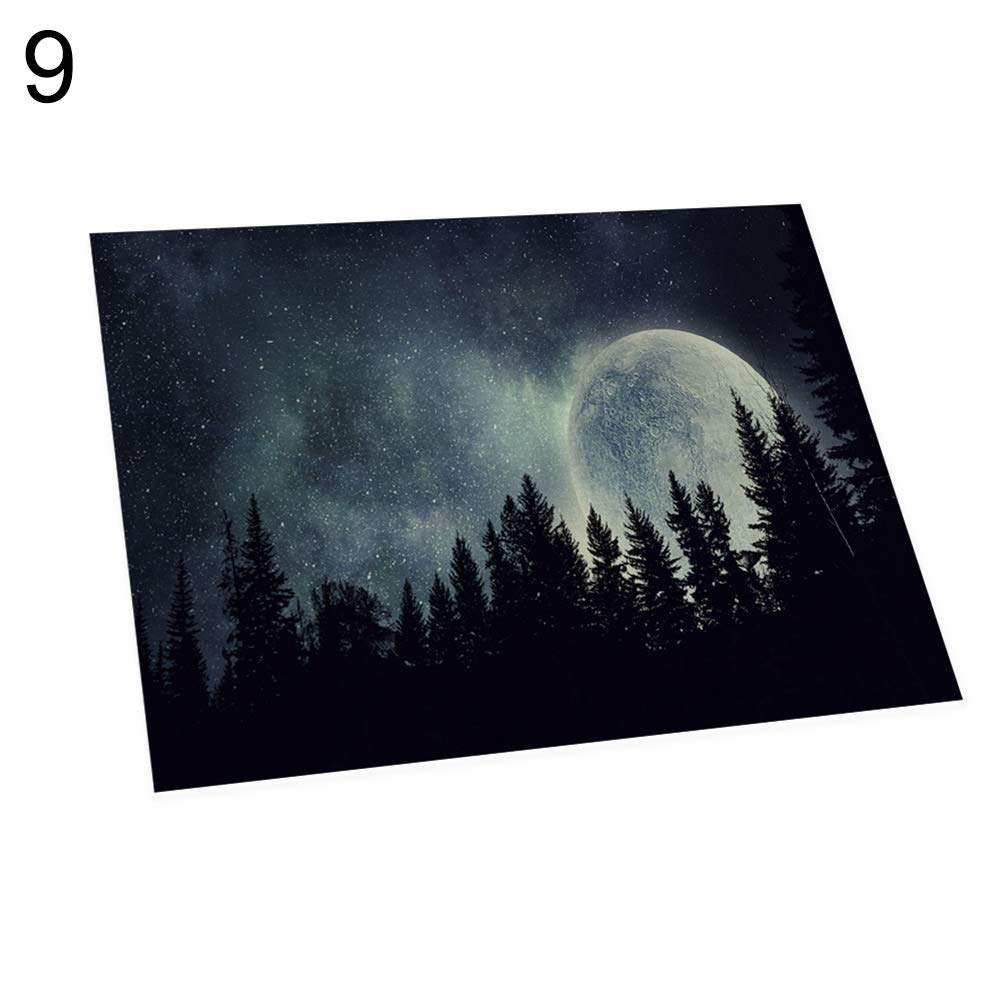 memorytime Night Starry Sky Linen Placemat Kitchen Dining Table Mat Bowl Pad Coaster Decor Kitchen Dining Supplies - 9#