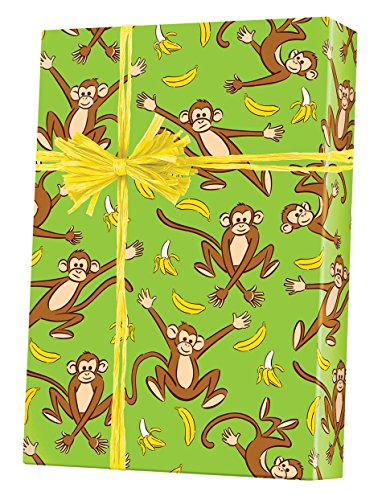 Going Bananas Monkey Themed Reversible Gift Wrap Paper Flat Sheet - 24