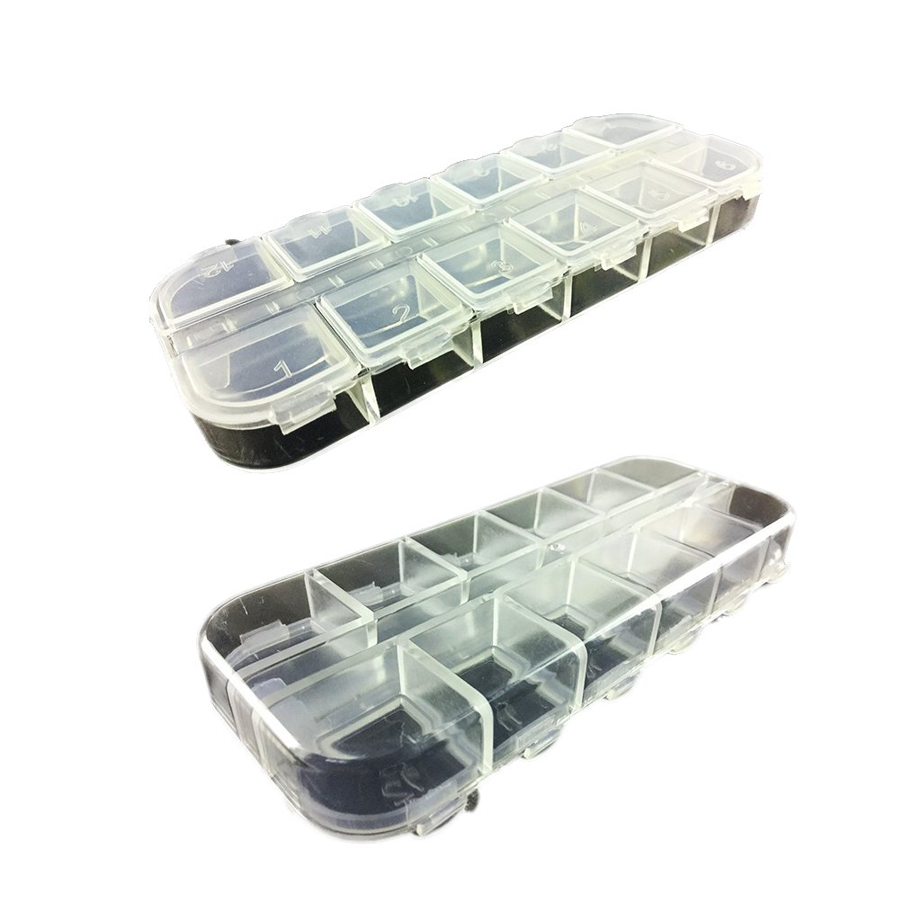 BARGAIN HOUSE Jewelry Organiser Bead Storage Container Case Plastic Jewellery Box Earring Storage Containers With Dividers 12 Compartment Transparent