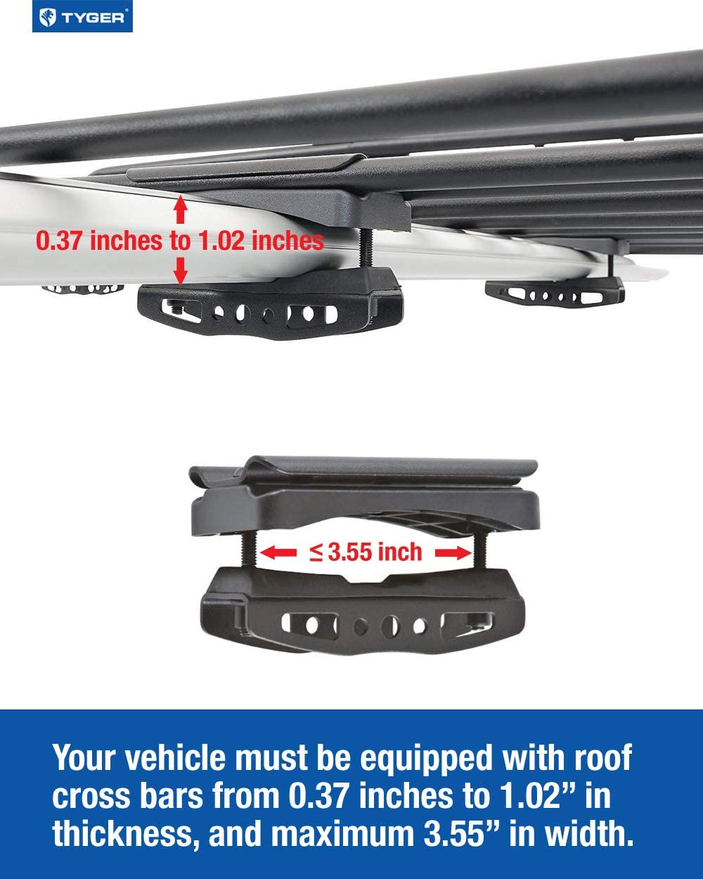 L57.5 x W42 x H6 Tyger Auto TG-RK1B942B Heavy Duty Mounted Cargo Basket Rack with Wind Fairing Roof Top Luggage Carrier