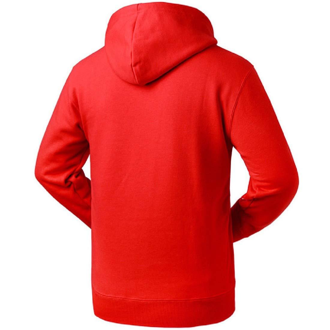 Abetteric Mens Long-Sleeve Pockets Pullover Drawstring Hooded Juniors Shirt