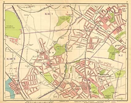 Map Of London And Surrounding Suburbs.Amazon Com London Nw Hendon Finchley Golder S Green Hampstead