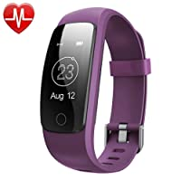 Willful Pulsera Inteligente, Podómetro, Monitor de Ritmo Cardíaco,Dormir,Calorías,IP67 Impermeable, Cronómetro, Modo multideportePulsómetro Pulsera para Android y iOS Teléfono móvil (púrpura)