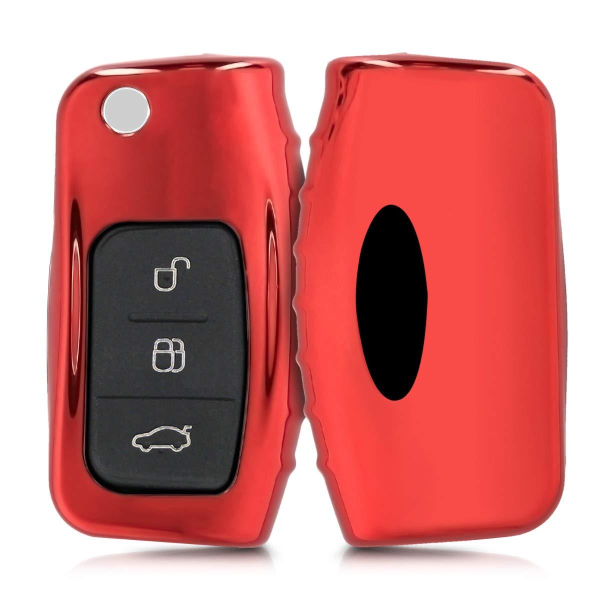 kwmobile Custodia Protettiva per Chiave Pieghevole Ford con 3 Tasti - Cover Chiave Auto in Silicone TPU - Guscio Elastico Protezione per Chiave Ford - Oro Rosa Brillante KW-Commerce 44986.93_m000690