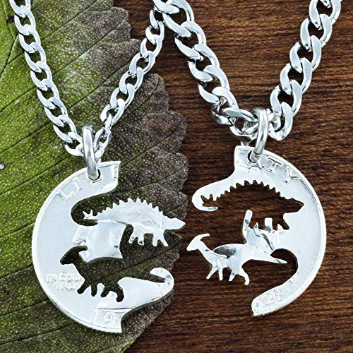 Dinosaur Necklaces for Best Friends, Ducky and Spike Dinos, Parasaurolophus and Stegosaurus, Hand Cut on a Quarter, By NameCoins -