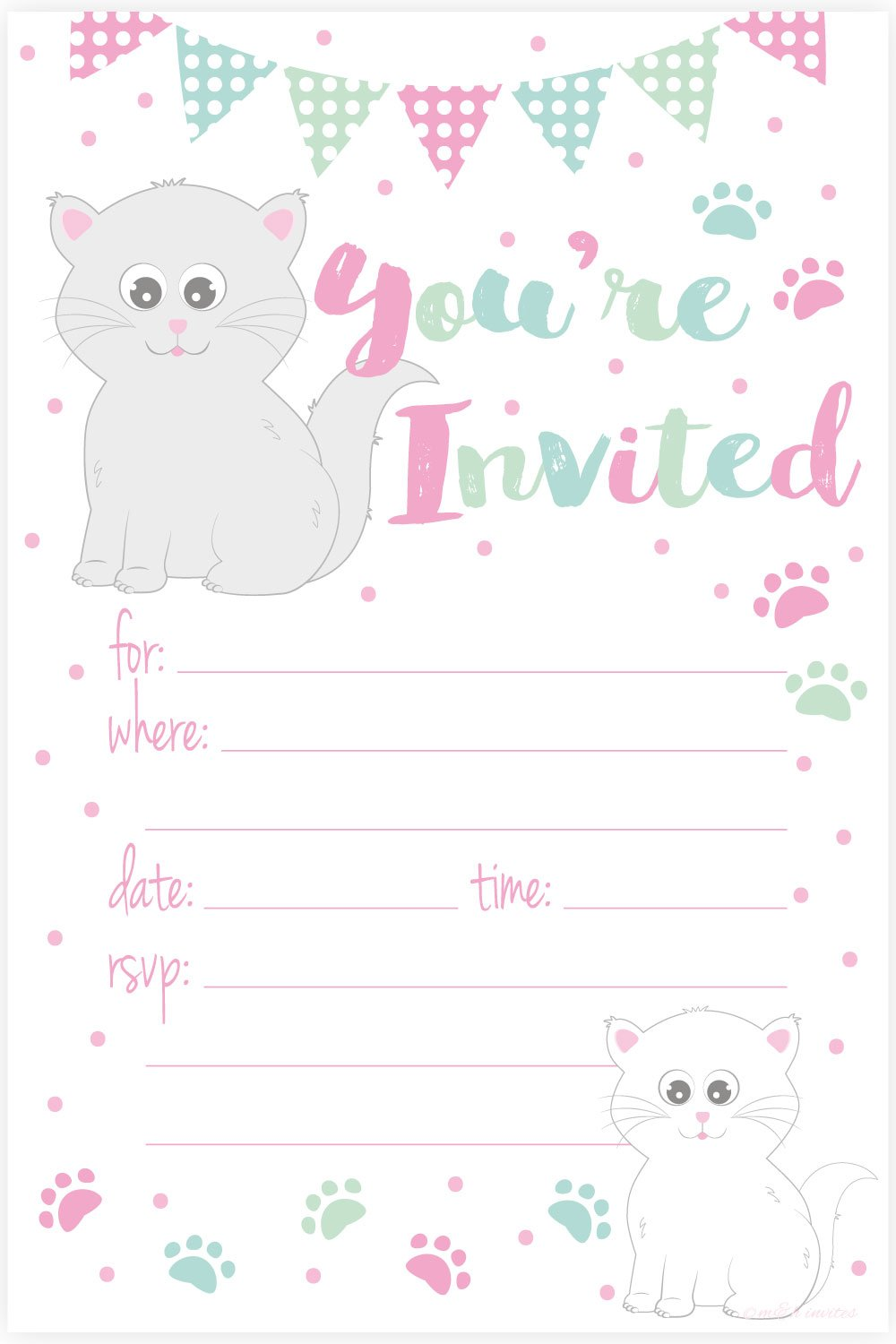 Kitty Cat Birthday Party Invitations - Fill In Style (20 Count) With Envelopes by m&h invites