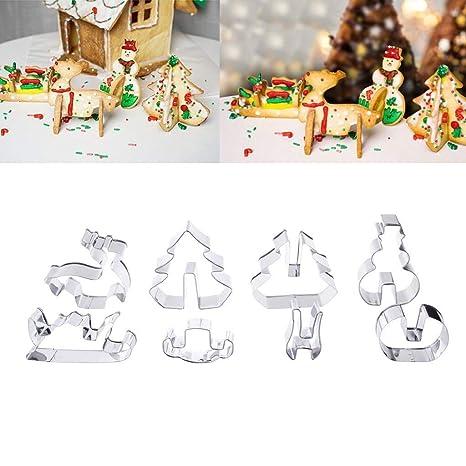 jiamins 3d Navidad para galletas DIY molde para hornear pan Set de galletas moldes para tarta