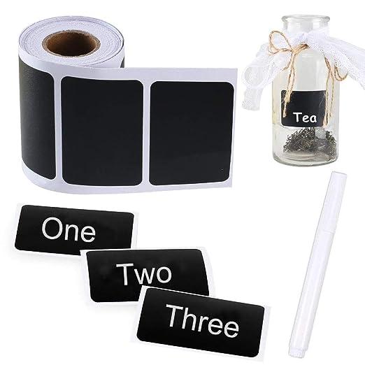 Pulluo 150 pcs Etiquetas Negras Pegatinas de Pizarra Etiquetas Adhesivas de Pegatina con Pluma Blanca Etiqueta de Cocina Decorado en Hogar Oficina ...