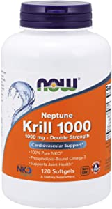 NOW Supplements, Neptune Krill, Double Strength 1000 mg, Phospholipid-Bound Omega-3, 120 Softgels