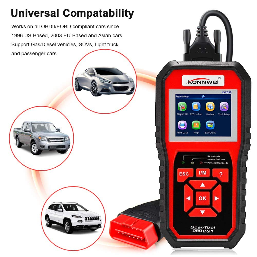 KONNWEI OBD2 Scanner Code Reader Professional OBD II Code Scanner Auto Diagnostic Check Engine Light Scan Tool for All OBD II Car After 1996 (Enhanced Version) by KONNWEI (Image #3)