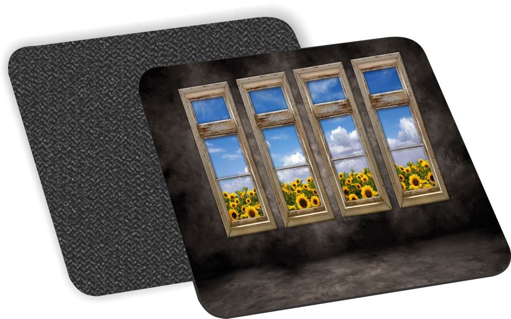 Rikki Knight Beautiful Sunflower View Old Distressed Interior Windows Design Soft Square Beer Coasters (Set of 2), Multicolor