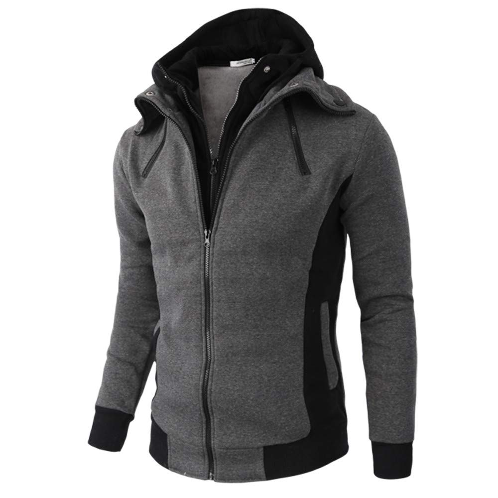 Mens Shirts Clearance Charberry Long Sleeve Autumn Winter Warm Casual Zipper Hooded Coat Blouse Jacket