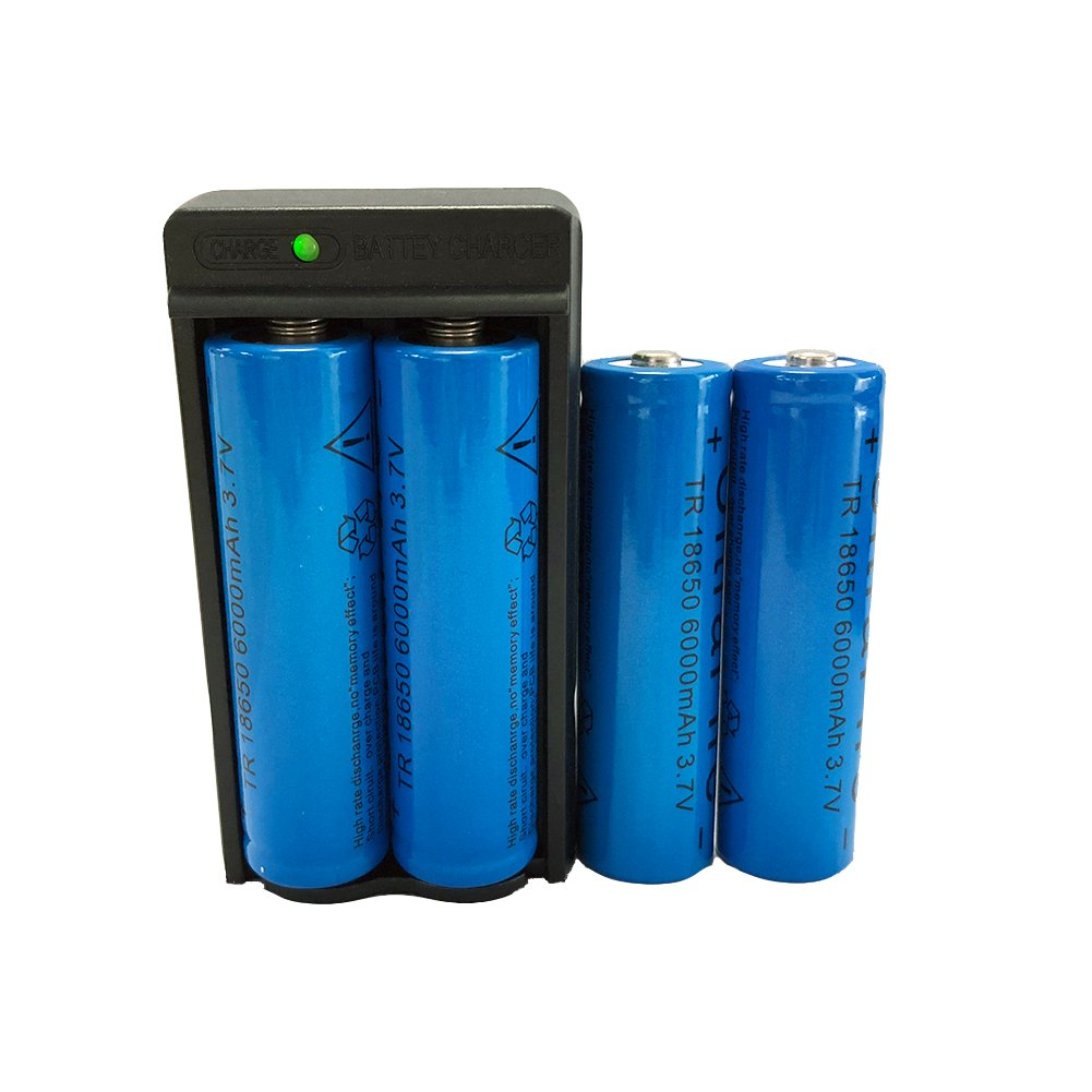 4 x 3.7V Li-ion 6000mAh 18650 Battery Rechargeable Batteries Button Top Lithium Battery + 1x Dual Charger for LED Flashlight